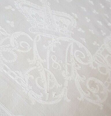 Small Antique Victorian White Damask Hand Embroidered Tablecloth With Lace Edge  • 40£