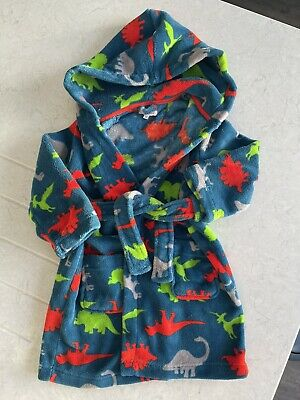 Dinosaur Dressing Gown, Bluezoo Debenhams, Boys ? Age 3-4. Attached Belt  • 2£