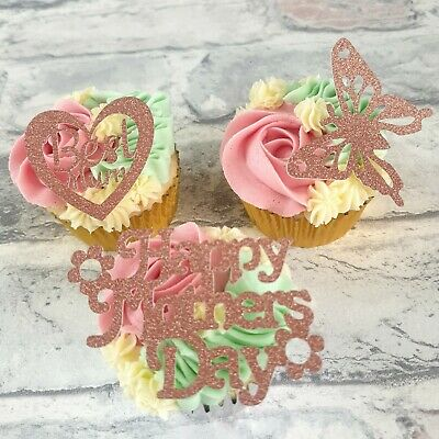 £3.90 • Buy Mothers Day Cupcake Toppers In Rose Gold Card , 3 Designs , 4 Topper Each Design
