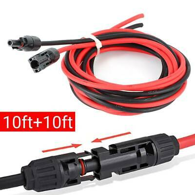 £15.80 • Buy 10 AWG Black+Red Solar Panel Extension Cable Wire  Connector Accessory 10ft