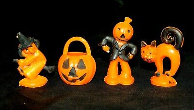 $ CDN31.70 • Buy Lot 4 Vintage Halloween Cupcake Toppers Cat Pumpkin Witch Scarecrow Decorations
