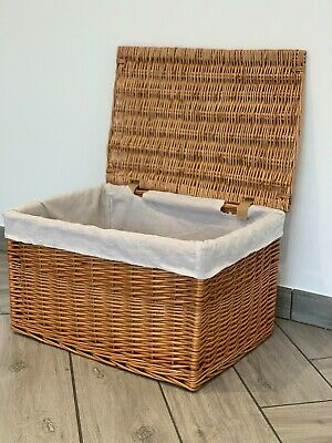 New Extra Large Wicker Natural Style Basket With Lid And Lining Hamper Storage • 34.99£