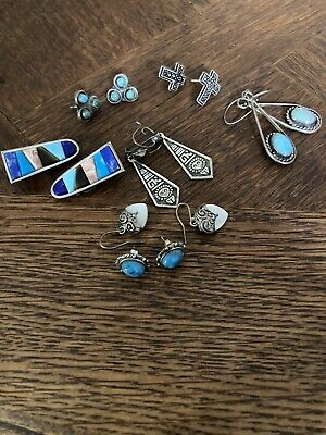 $ CDN16.28 • Buy Vintage Lot 7 Pair Drop Dangle And Clip Earrings Sterling Silver 925  Mexico