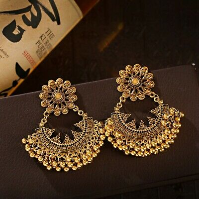 AU4.98 • Buy Vintage Ethnic Gold Peacock Handmade Indian Jhumka Earrings Jewelry For Women