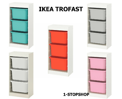 IKEA TROFAST Storage Combination With Children's Play Plastic Boxes 46x30x94cm • 54.99£