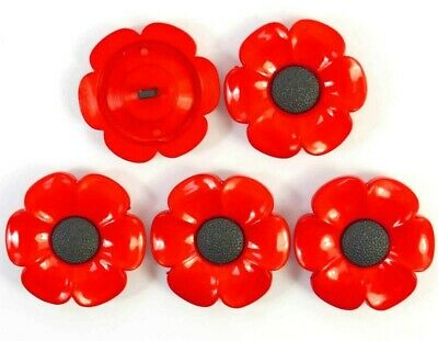 £2.95 • Buy Set Of 5 X 21mm Poppy Flower Shaped Shank Buttons Craft Sewing Knitting Novelty