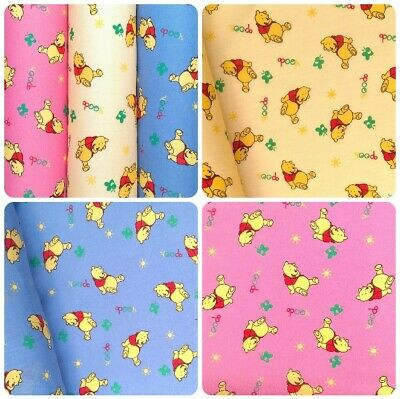 £4.65 • Buy Winnie The Pooh Bear Poly Cotton Fabric  Material Pink Blue Lemon Fast Free Post