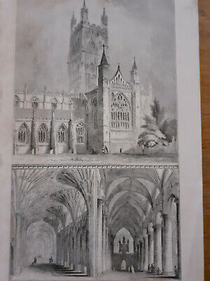 £9 • Buy Print Engraving Gloucester Cathedral