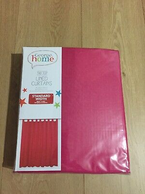 """Brand New George Home Pink Tab Top Lined Curtains W66""""x L54"""" • 11.99£"""