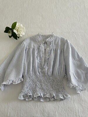 AU42 • Buy SCANLAN THEODORE Ruched Ruffle Sleeve Top Blouse Blue White Stripe 6 AUD $300.00