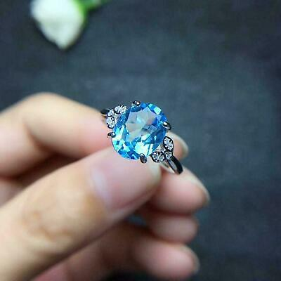 AU139.99 • Buy 1.5ct Oval Cut Blue Topaz Diamond Accent Solitaire Ring 14k White Gold Over