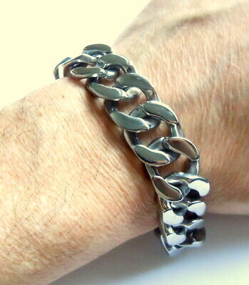 Men's Chunky Cuban Curb Chain Bracelet - Stainless Steel Heavy Duty Biker 22 Cm  • 25.97£