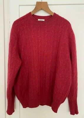 Men's, N. Peal, The Thames Cable, Red, Cashmere Jumper • 85£