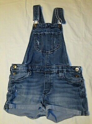 H & M Blue Distressed SHORT DUNGAREES With Turn-ups Age 11-12 Years • 10.99£