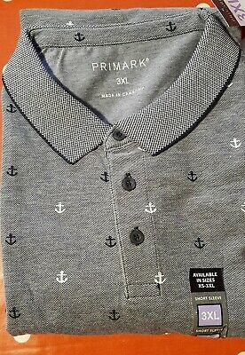 3XL Primark Men's Polo T Shits Navy Anchor Design • 3.99£