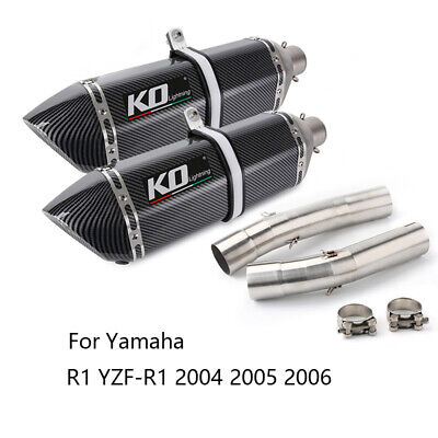$311.11 • Buy Dual-outlet For Yamaha YZF R1 2004-2006 Exhaust Pipe Motorcycle 2 470mm Mufflers