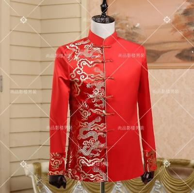 $46.99 • Buy New Mens Chinese Embroidery Red Wedding Coats Prom Cocktail Tang Suit Outwear