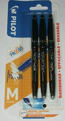 PILOT  FRIXION BALL 3 PACK PENS  ERASABLE  BLACK   0.7 Mm  ROLLERBALL  NEW  • 4.47£