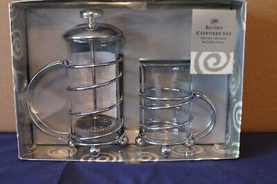 Boots Bistro Chrome Cafetiere Set - Cafetiere And Coffee Glass - New Boxed • 24£