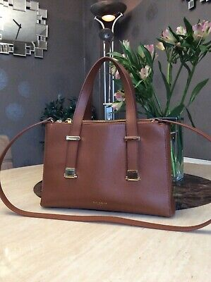 Tan Leather Ted Baker Tote Bag With Detachable Long Strap • 15£