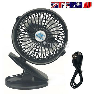 AU18.59 • Buy Portable Clip-on Mini Fan 3 Speed Strong Airflow For Office Student Desk Tent AU