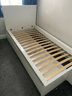 Malm High Single Bed Ikea White With Drawers/boxes Storage • 30£