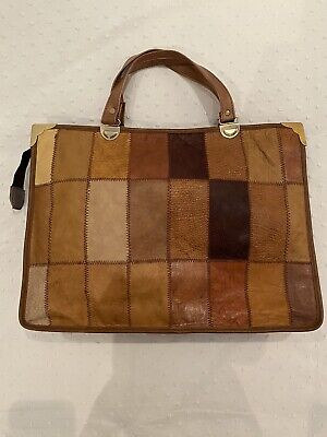 Vintage Brown Patch Work Leather Hand Bag Tote Laptop Tan Great Quality Vtg • 35£