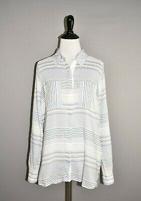 $ CDN12.69 • Buy WHITE HOUSE BLACK MARKET $88 Semi Sheer Striped Soft Button Front Shirt Size 4