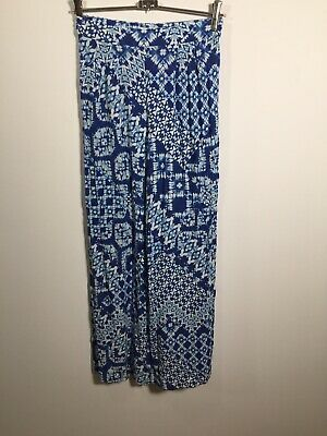 AU24.95 • Buy Forever New Womens Blue White Geometric Pants Size 6 W24 Inch Viscose Good Condt