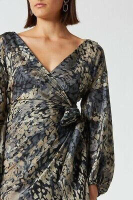 AU150 • Buy Scanlan Theodore | Silk Wrap Dress Size 10 | RRP $800 NEW WITH TAGS