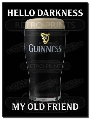 £4.95 • Buy GUINNESS Hello Darkness Funny Retro Metal Wall Sign Plaque Man Cave Pub Bar Beer
