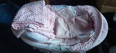 £60 • Buy Large Pink Wicker BABY DOLLS CRADLE 86x54x62cm And 9 Assorted Blanket Pillows