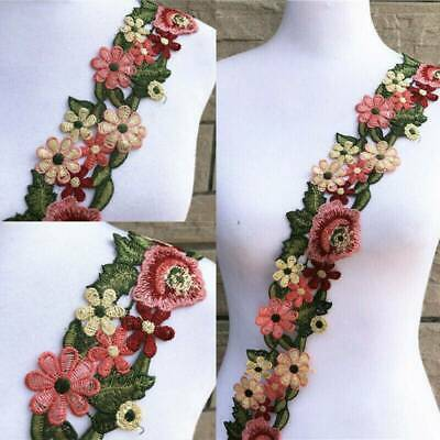 £1.27 • Buy 1Yard Flower Leaves Lace Trim Ribbon Applique Embroidered Sewing Craft DIY UK
