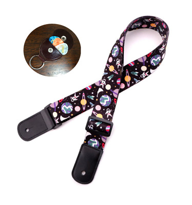 AU13 • Buy Lovely Ukulele Strap Polyester Aerospace Pattern Band With PIck Hold,3 PIcks