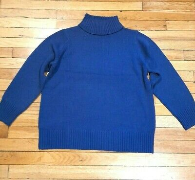 TEXT Ladies Chunky Blue Knit Roll Neck Slouchy Jumper XL UK 16 • 6.99£