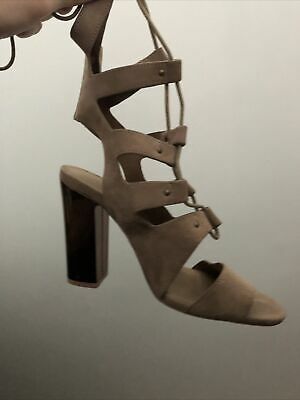 Ladies Gladiator Sandals With Rose Gold Heel Size 5 • 2£