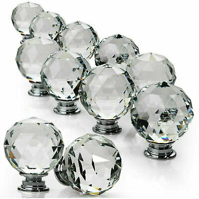 Clear Crystal Diamond Glass Door Knobs Cupboard Drawer Furniture Handle Cabinet • 18.95£