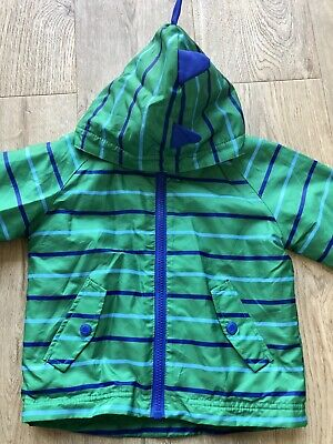 Boys Water Resistant Jacket With Dinosaur Spikes Fleece Lined Blue Zoo Age 2-3 • 3£