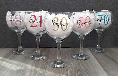 £6.95 • Buy Personalised Gin Glass - 18th Birthday - 21st - 30th - 40th - Gift For Her
