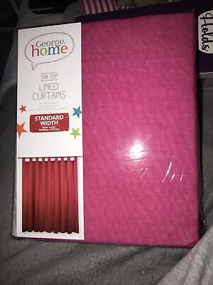 BRAND NEW George Home Pink Curtains Tab Top 66  X 54   168 X 137cm  • 9.99£