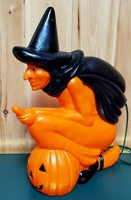 $ CDN200 • Buy VTG Blow Mold Witch Pumpkin On Broom Light 20  Halloween Don Featherstone