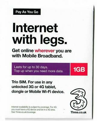 £5.99 • Buy Payg Three Sim Card Preloaded With 1gb Of Data (valid For 30 Days)