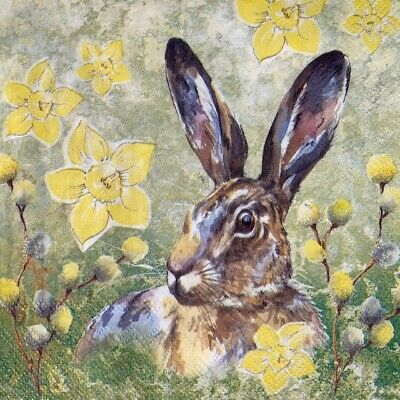 £1.30 • Buy 4 X Single Paper Napkins - Decoupage - 3 Ply - Easter Hare Bunny Daffodils S17