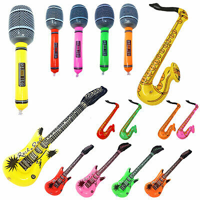 £12.99 • Buy 15 PACK Inflatable Instruments Blow Up Fancy Dress Rock Party Guitar Microphone