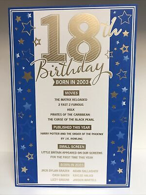 £2.49 • Buy Blue 18th Birthday Card - The Year You Were Born - 2003 - Gold Envelope