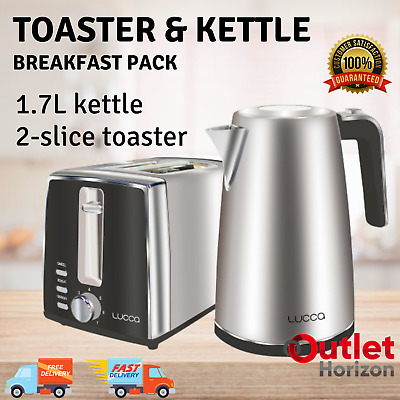AU48.02 • Buy Lucca 2-slice Toaster And 1.7L Kettle Breakfast Pack Combo Set Stainless Steel