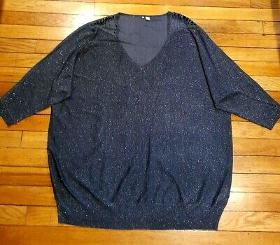 Capsule Ladies Charcoal Sparkle Fine Knit Slouchy Batwing Jumper UK 24/26 • 6.99£