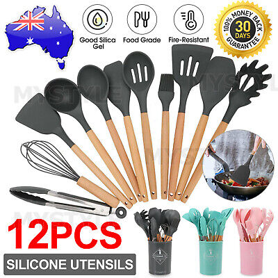 AU25.95 • Buy Set Of 12 Silicone Utensils Set Wooden Cooking Kitchen Baking Cookware BPA