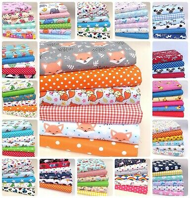 £8.75 • Buy Poly Cotton Fabric Bundles Fat Quarters Squares Childrens Crafts Sewing Material