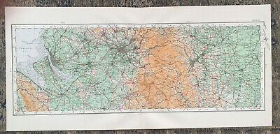 £14.99 • Buy Antique Map Of Cheshire Manchester Derbydhire Buxton Sheffield Liverpool 1922